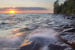 Waves crash at sunset on Devils Island in the Apostle Islands National Lakeshore, Wisconsin, USA