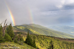 Double rainbow over the Whitefish Range from Werner Peak in the Stillwater State Forest, Montana, USA