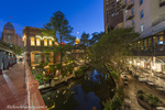The Riverwalk at dusk in downtown San Antonio, Texas, USA