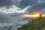 Sunset from Crescent Beach at Ecola State Park in Cannon Beach, Oregon, USA