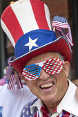 Patriotic man at 4th of July parade in Aspen, Colorado, USA