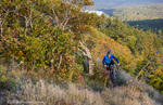 Mountain biking on the Over the Edge Trail in Copper Harbor, Michigan, USA model released