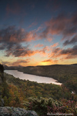Vivid sunrise over Lake of the Clouds in autumn at Porcupine Mountains State Park, Michigan, USA