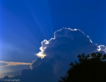 Cumulous Clouds, (and Crepuscular Rays)the most dominant summer cloud type in the Southern USA