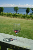 Glass of wine on the deck of a Finger Lakes winery, Cayuga Lake in the background