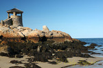 Stone lookout tower by the sea, Rockport, Massachusetts