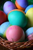 A basket of brightly colored Easter eggs