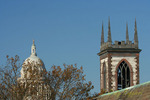Steeples old and new, Providence Rhode Island, Cathedral of St John and the RI statehouse dome