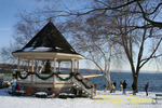 Winter family fun at the gazebo next to Skaneateles Lake, NY