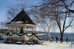 Winter family fun at the gazebo next to Skaneateles Lake, NY