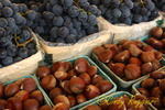 Chestnuts and grapes at the farm stand