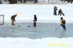 Ice Hockey, Ice Fishing in background, Lincoln Woods State Park, Rhode Island