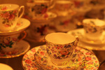 Antique teacups on display