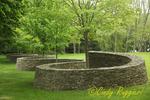 Winding stone wall, built as a marble run