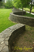 Winding Stone wall, built as a marble run