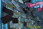 License plates on store front, Bar Harbor, Maine