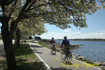 Biking along the bike path in Bristol Rhode Island