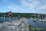 Watkins Glen, NY, Seneca Lake, walkway and marina