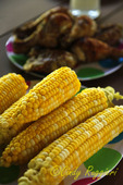 Summer picnic; corn on the cob and bbq chicken