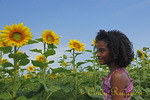 Girl and Sunflowers, Clifton Springs, NY