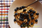 Steel cut oatmeal topped with fresh blueberries
