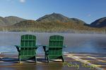 Adirondack chairs on the dock, morning fog rising, Elk Lake, North Hudson New York, Adirondack region