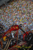 Orange County Choppers, Newburgh New York, wall of patches from policemen, firemen, sheriff, etc