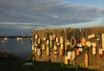 Block Island New Harbor, Rhode Island, fence of buoys with memorial stone