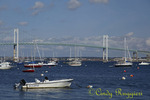 Claiborne Pell Bridge, commonly known as the Newport Bridge, connecting Jamestown to Newport Rhode Island; East Passage of the Narragansett Bay; view from Jamestown