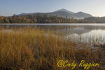 Early morning at Connery Pond, Adirondack Park high peaks region, New York; Whiteface Mountain in background