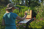 Artist at her easel, Cutler Botonical Gardens, Binghamton New York