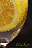 Lemon wedge and bubbles