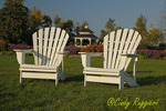 Adirondack Chairs in Garden setting, Mackinac Island, MI