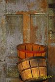 Weathered door and baskets