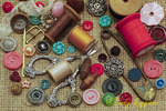 Old buttons and sewing notions