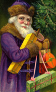 Santa with Purple Suit, pre 1920