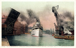 S.S. Roosevelt Passing Through State Street Bridge, Chicago, Illinois