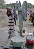girl using well