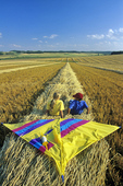 children in swathed wheat field