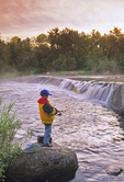 boy fishing at Rainbow Falls