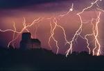 lightning over grain elevator