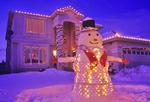 snowman/house at Christmas