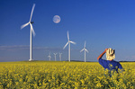 farmer in canola field containing wind turbines, near St. Leon, Manitoba, Canada