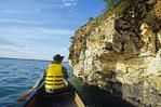 canoeing near limestone cliffs, Little Limestone Lake, Manitoba, Canada