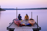 kayakers an Nutimik Lake campground boat dock, Whiteshell Provincial Park, MB