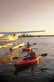 couple kayaking, Dorothy Lake, Whiteshell Provincial Park, Manitoba, Canada