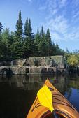 kayak, Nutimik Lake, Whiteshell Provincial Park, Manitoba, Canada