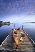 Whiteshell Provincial Park, Manitoba, Canada  kayak, Nutimik Lake campground boat dock