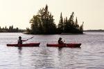 kayaking, Otter Falls, Whiteshell Provincial Park, Manitoba, Canada  Model Release DR-1/2
