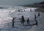 children playing on beach, Lome, Togo, West Africa